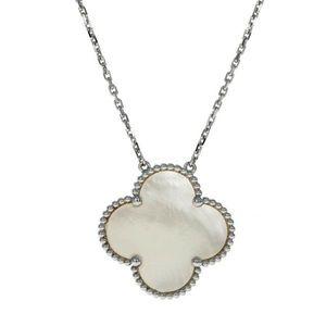 18k W Gold Mother Of Pearl Alhambra 4 Leaf Clover